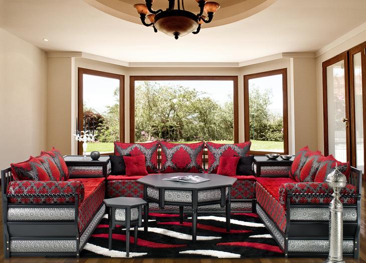 Salon Marocain Rouge Et Blanc